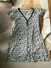 Zara Basic Tea Dress Off-White With Purple, Blue Small Flowers Size Large Summer