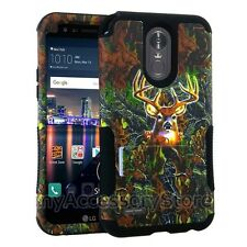 For LG Stylo 3 Deer Hunting Camo Hybrid Rugged Armor Protector Phone Case Cover