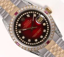 Rolex Datejust 2 Tone 36mm-Red Vign. String Diamond Dial-Diamond Lug/Ruby Bezel