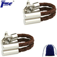 Fashion Cuff Link Men Brown Leather Rope Shirt Cufflinks With Velvet Bag