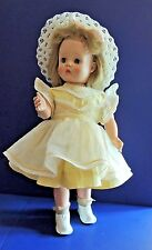 """Rare Vintage Walking Doll Hard Plastic Wind Up toy Pretty Yellow White Dress 18"""""""