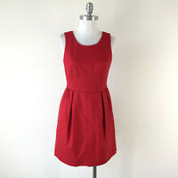 J Crew S 4 Red Wool Sheath Dress Career Cocktail Sleeveless Excellent