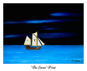 """""""The Swan"""", Print of oil painting by Robert Marquiss, white border, no frame"""