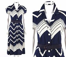 Vtg COUTURE c.1940s Navy Blue White Chevron Linen Button Front Belted Day Dress