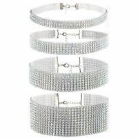 4pcs Frauen Strass Choker Kragen Halskette Hochzeitsfeier Kette Lätzchen Aussage
