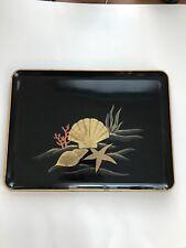 Vintage Otagiri Lacquerware Seashells Serving Tray: Japan