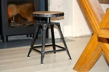 Low stool fixed height 46.5cm urban vintage, Pewter colour finish