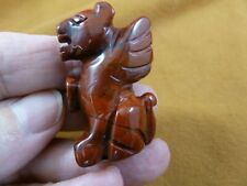 (Y-Pant-Ga-St-550) Red jasper Panther Gargoyle winged Gemstone mythical carving