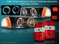 00-06 YUKON DENALI XL 1500 2500 BLACK PROJECTOR HEADLIGHTS + LED TAIL LIGHTS RED