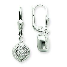14K White Gold Polished and Diamond Cut Drop Dangle Leverback Earrings