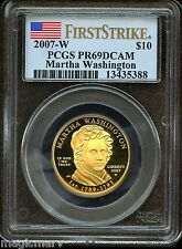 2007 W $10 Gold First Spouse Martha Washington PCGS PR69DCAM 1st Strike
