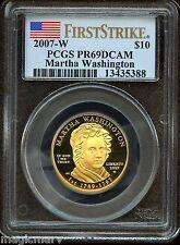 2007 W $10 Gold First Spouse Martha Washington PCGS PR69DCAM 1st Strike
