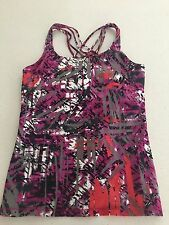 CALVIN KLEIN WOMENS SPORT GYM TOP BUIL IN STRAPS PRINTED TOP SZ S