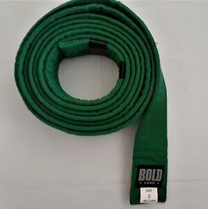 BOLD LOOK Martial Arts Belt Karate Taekwondo Jiu jitsu Judo - GREEN - Size 5