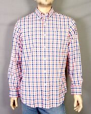 euc Southern Tide Orange Blue White Gingham Dress Shirt Cotton 2% Elastaine L