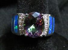 Sterling 925 SF Size 6 Ring Blue Lab Opal & 8*10mm Rainbow Topaz & White Topaz