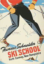 Vintage école de ski america travel A3 poster print