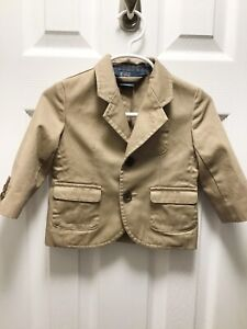 Polo Ralph Lauren Boys Toddler Size 12M Khaki Blazer Sports Coat