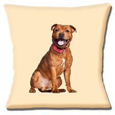 Perro Staffordshire Bull Terrier Funda de cojín 40.6x40.6cm 40cm Marrón Staffie