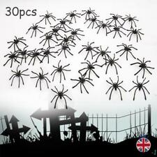 30pcs Black Halloween Spiders Plastic Party Decorations  Scary Prank Toy Props
