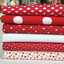 Bundle 6 fat quarters valentines romantic hearts and spots red white 100% cotton
