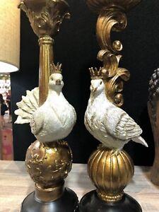 Designer Home & Shop Decor Center Piece Luxurious DOVE CANDLE HOLDERS SET2 NEW!!