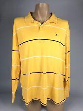 Vintage 90s  NAUTICA Men's XL Extra Large Yellow Striped Long Sleeve Polo Shirt