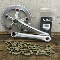 Vintage Takagi Crank Set Tourney GS 170mm Red Wolf Tooth Old school BMX MTB