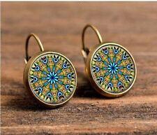 Pendientes Aros Bronce Multi Color rangoli Étnico Vintage Mandala Indio árabe