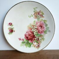 Early 1900s floral roses and lilies of the valley plate 9 inches