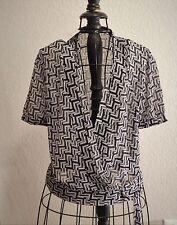 414  Covington Black White Wrap Style Short Sleeve Blouse Top S