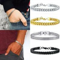 Men Fantastic Silver Stainless Steel Cuff Wristband Bangle Boy's Cool Bracelet