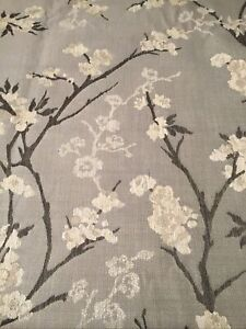 "2.3m John Lewis Fabric Remnant Blossom On Grey 55"" Wide"