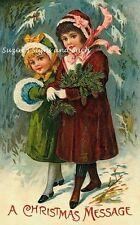 Vintage Christmas Fabric Block Victorian Girls Message