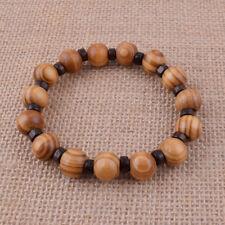 Natural Wood Fashion Men Bracelet 12mm Beaded Charm Bangle Wrist Gift Jewelry