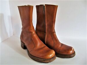 SALE ~ Vtg Frye Campus Boots Square Toe Zip Up Leather Stacked Heel Men's 9.5