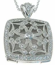 Classic Antique Style Sterling Silver Cubic Zirconia CZ Filligree Design Locket