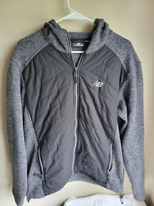 Mens New Balance Fleece Running Full Zip Jacket Size M Black/Gray