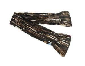 812308 New Multicolor Knit Knitted Mink Fur Scarf Collar Wrap Shawl Stole