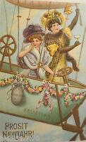 """ New Year,Women,Hot Air Balloon,Bell,Coins "" 1909,Embossed Postcard (20325)"