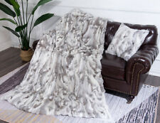 Luxury Soft Real Rabbit Fur Throw Warm Large Sofa Bedspread Blanket 50x200cm