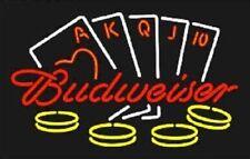 """New Poker Casino Cards Ace Budweiser Bar Beer Light Neon Sign 24""""x20"""""""
