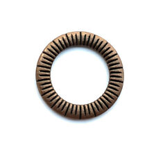 Antique Copper Plated Alloy 24mm Striped Bohemian Round Ring Links Q15 per Pkg
