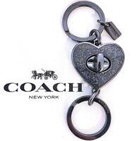 COACH Valet Heart Turnlock Keychain Black Sparkle Purse FOB Bag Charm NWT 58512