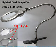 Large Lens Lighted Lamp Desk Magnifier Magnifying Glass with Clamp LED Light New
