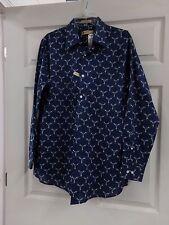 Mens 16 1/2 34/35 Haggar 1926 Originals Blue w/ Abstract Design Button Up Shirt