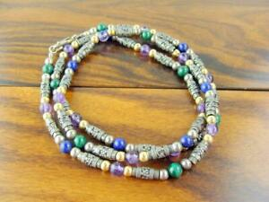 Vintage Balinese Sterling Necklace w/ Lapis, Amethyst & Malachite Beads