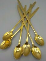 6 Vintage Gold Heavenly Star Iced Tea Ice Cream Spoons Stainless Flatware Japan