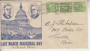 POLITICAL LAST DAY MARCH INAUGURAL POSTED JUN 3 1933 STRIP 3 #728 SLOGAN CANCEL