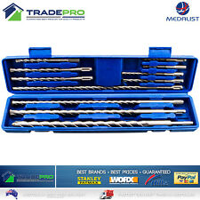 11pc SDS Drill Bit Set Masonry Hammer Rotary Tungsten Carbide Tip Kit with Case